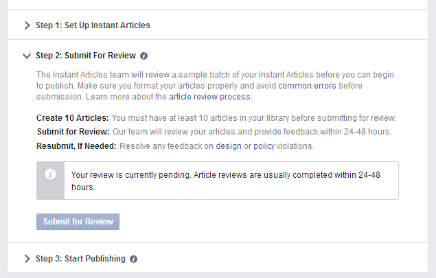 FBIA Approval Request with 10 Instant Articles