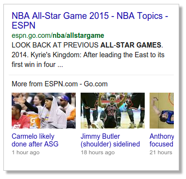 Google Search Results Carousel