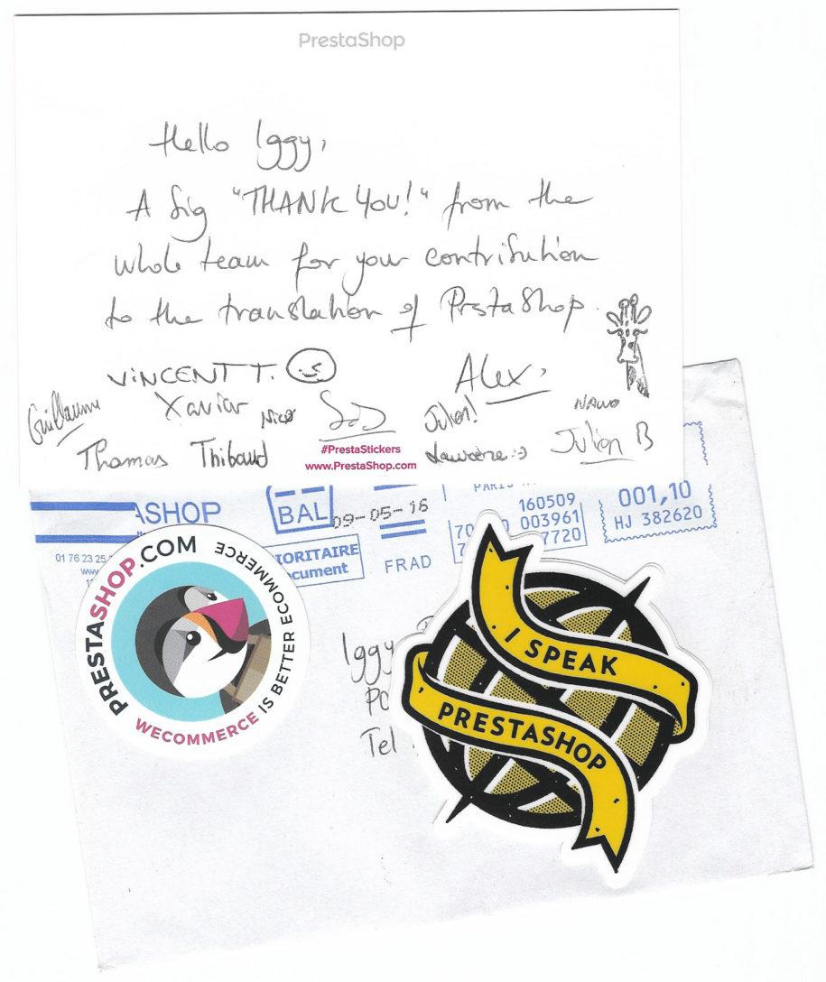 Prestashop Letter of Appreciation