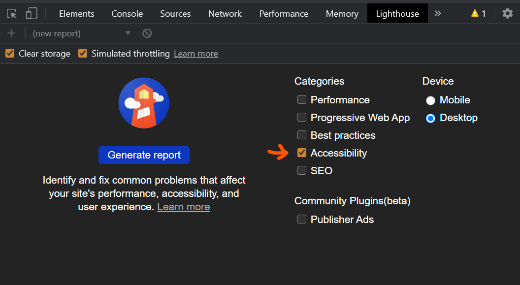 DevTools Accessibility Test with Lighthouse